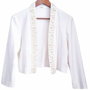 CALVIN KLEIN Pearl Embellished Ivory Blazer